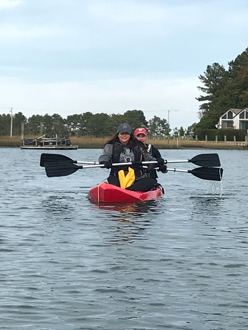 Friends kayaking in Eastern Shore